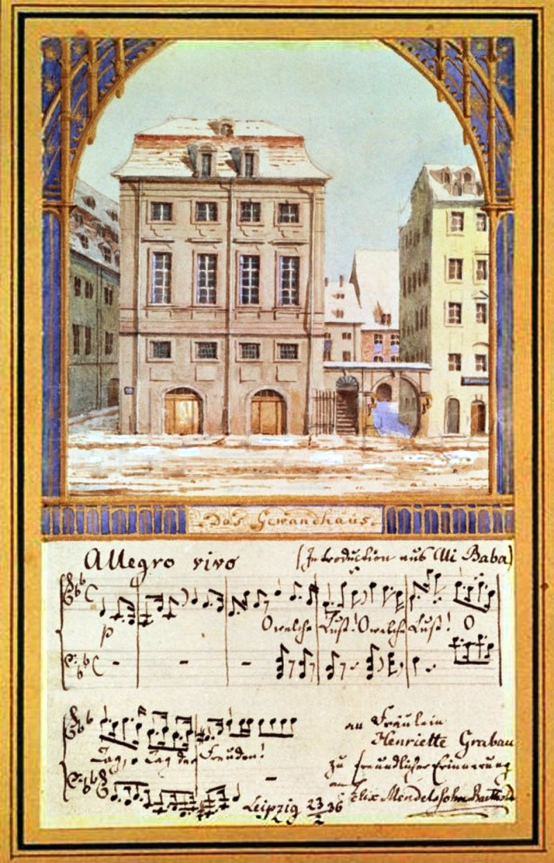 """Leipzig's first Gewandhaus Concert Hall (until 1884), along with sheet music from Luigi Cherubini's opera """"Ali Baba or the Forty Thieves,"""" which the newly appointed conductor performed at his premiere concert on October 4th, 1835.  Felix Mendelssohn Bartholdy, Das Alte Leipziger Gewandhaus, 1836, Library of Congress, Washington D.C."""