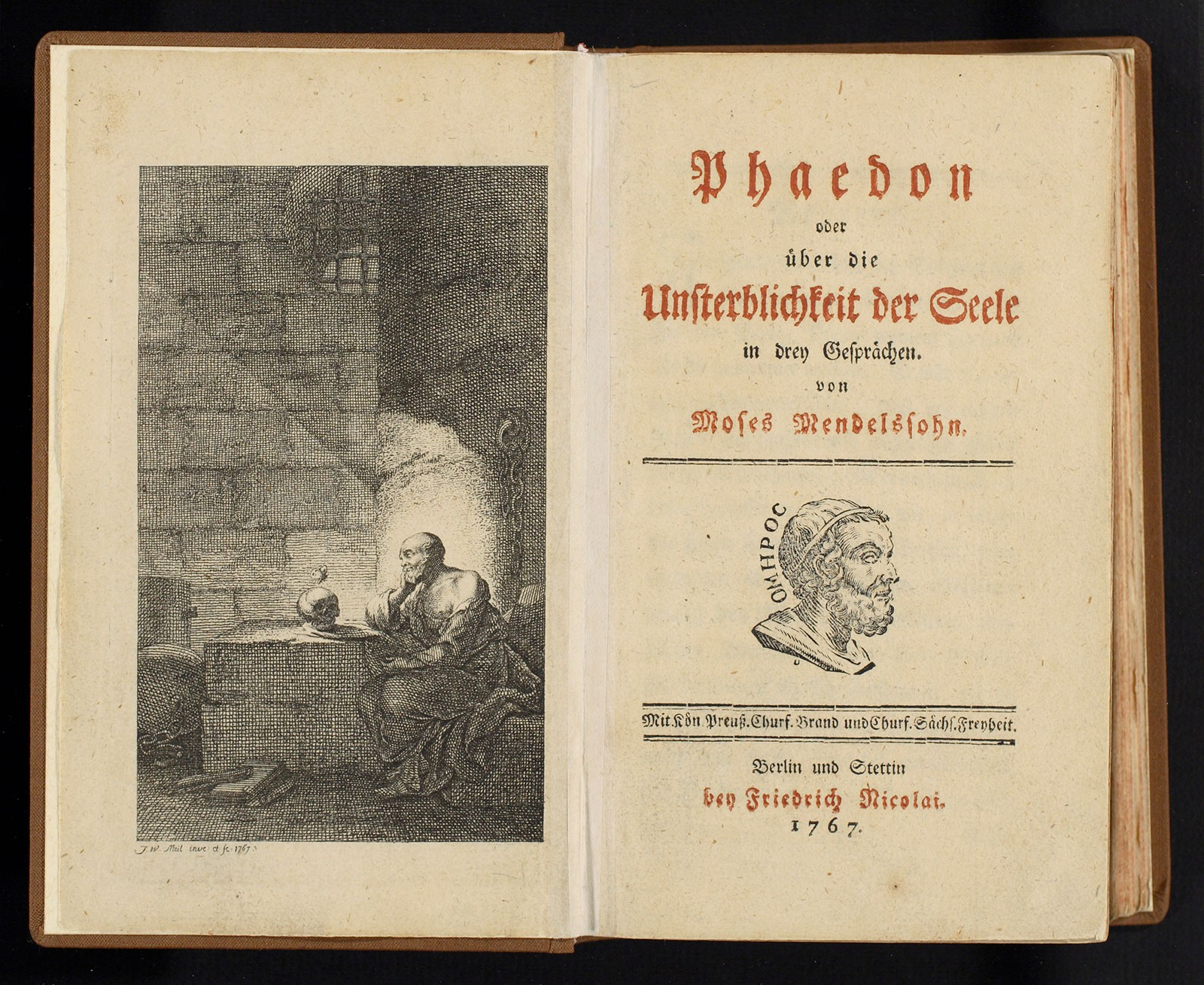 In his bestseller Phaedon, Moses revisits Plato's Phaedo, which relates the condemned Socrates's final discourse before his death, while adding his own moral and theological proof of the soul's immortal nature.  J.W. Meil, 1767 © bpk / Staatsbibliothek zu Berlin / Photo: Carola Seifert.