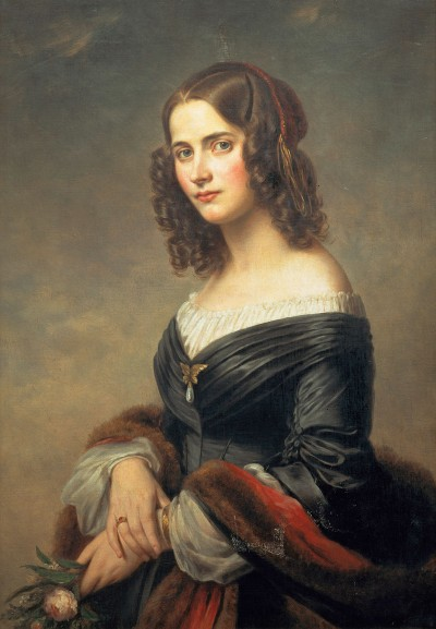 """Felix' wife Cécile Jeanrenaud, daughter of a family of Hugenot patricians from Frankfurt.  Eduard Magnus, """"Cécile Mendelssohn Bartholdy,"""" 1845, © bpk / SBB / photo: Ruth Schacht."""